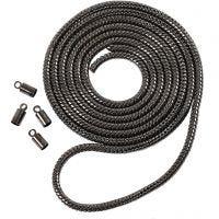 Cadena serpiente, dia: 3,1 mm, gris oscuro metalizado, 1 m