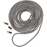Cadena de perlas, dia: 1,5 mm, gris oscuro metalizado, 1 m