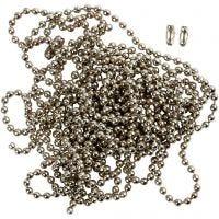 Cadena de bolas, dia: 1,5 mm, plateado, 3 m/ 1 rollo