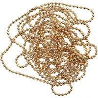 Cadena de bolas, dia: 1,5 mm, dorado/plateado, 1,5 m/ 1 rollo