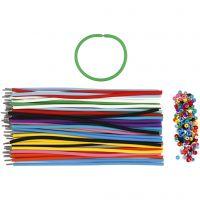 Pulseras - surtidos, L. 20 cm, grosor 4 mm, surtido de colores, 48 set/ 1 paquete