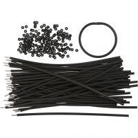 Pulseras - surtidos, L. 20 cm, grosor 4 mm, negro, 48 set/ 1 paquete