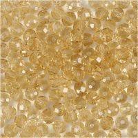 Perlas facetadas, medidas 3x4 mm, medida agujero 0,8 mm, Topazio, 100 ud/ 1 paquete