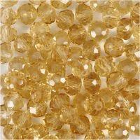 Perlas facetadas, medidas 5x6 mm, medida agujero 1 mm, Topazio, 100 ud/ 1 paquete