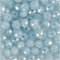 Perlas facetadas, medidas 5x6 mm, medida agujero 1 mm, azul marino, 100 ud/ 1 paquete