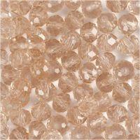 Perlas facetadas, medidas 5x6 mm, medida agujero 1 mm, rosado, 100 ud/ 1 paquete