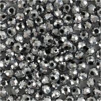 Perlas facetadas, medidas 3x4 mm, medida agujero 0,8 mm, gris metalizado, 100 ud/ 1 paquete