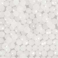 Perlas facetadas, medidas 3x4 mm, medida agujero 0,8 mm, escarchado, 100 ud/ 1 paquete