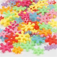 Cuentas de plástico con formas, dia: 7-13,5 mm, medida agujero 2 mm, surtido de colores, 125 ml/ 1 paquete, 50 gr