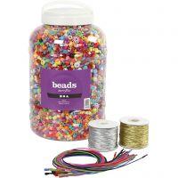 Cubo con cuentas de plástico, cuerda elástica y pulseras, medidas 6-20 mm, medida agujero 1,5-6 mm, surtido de colores, 1 set