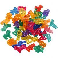 Cuentas de plástico con formas, medidas 25 mm, medida agujero 4 mm, 1000 gr, surtido de colores, 2000 ml/ 1 bote