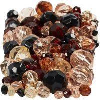 Faceted Bead Mix, medidas 4-12 mm, medida agujero 1-2,5 mm, dorado, 250 gr/ 1 paquete