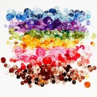 Faceted Bead Mix, dia: 4-12 mm, medida agujero 1-2,5 mm, surtido de colores, 7x250 gr/ 1 paquete