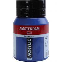 Pintura acrílica Amsterdam, transparente, Phthalo blue, 500 ml/ 1 botella
