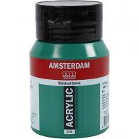 Pintura acrílica Amsterdam, opaco, permanent green deep (619), 500 ml/ 1 botella