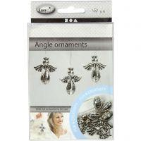 Colgantes ángel, A: 5,5 cm, A: 4,5 cm, plata, 4 ud/ 1 paquete