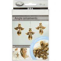 Colgantes ángel, A: 5,5 cm, A: 4,5 cm, dorado, 4 ud/ 1 paquete