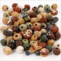 Cuenta de cerámica, medidas 7-18 mm, medida agujero 2-4 mm, surtido de colores, 300 gr/ 1 paquete