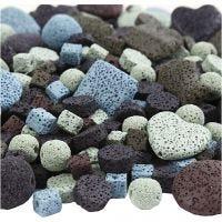 Mix de cuentas de lava, medidas 6-37 mm, medida agujero 1+2 mm, El contenido puede variar , surtido de colores, 20 hebras/ 1 paquete