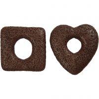 Cuentas de lava, medidas 43-47 mm, marrón, 2 stdas/ 1 paquete