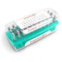 Sellos de embossing, Letras minúsculas y caracteres, medidas 3 mm, Fuente: Juniper  , 33 ud/ 1 set