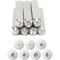 Sellos de embossing, Alfabeto europeo, L. 65 mm, medidas 3 mm, 7 ud/ 1 set