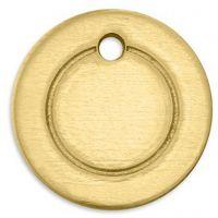 Etiqueta, Círculo, dia: 13 mm, medida agujero 1,85 mm, grosor 1 mm, latón, 11 ud/ 1 paquete