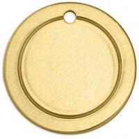 Etiqueta, Círculo, dia: 20 mm, medida agujero 1,85 mm, grosor 1 mm, latón, 6 ud/ 1 paquete