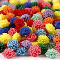 Cuentas de flores, medidas 15x8 mm, medida agujero 1,5 mm, surtido de colores, 10x25 ud/ 1 paquete, 300 ml