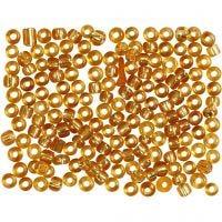 Rocalla cuenta, dia: 3 mm, medidas 8/0 , medida agujero 0,6-1,0 mm, dorado, 500 gr/ 1 paquete