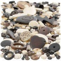 Cuentas de madera y hueso, medidas 5-30 mm, medida agujero 1-2 mm, 300 gr/ 1 paquete