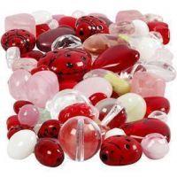 Cuentas de vidrio, Mariquitas, hojas, corazones, medidas 5-22 mm, medida agujero 0,5-1,5 mm, surtido de colores, 60 gr/ 1 paquete