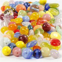 Cuentas de vidrio, Redondo, ovalado, circular, dia: 6-13 mm, medida agujero 0,5-1,5 mm, surtido de colores, 350 gr/ 1 paquete
