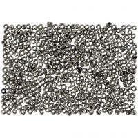 Rocalla cuenta, dia: 1,7 mm, medidas 15/0 , medida agujero 0,5-0,8 mm, gris metalizado, 500 gr/ 1 bolsa