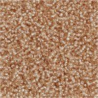 Rocalla cuenta, dia: 1,7 mm, medidas 15/0 , medida agujero 0,5-0,8 mm, melocotón, 25 gr/ 1 paquete