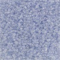 Rocalla cuenta, dia: 1,7 mm, medidas 15/0 , medida agujero 0,5-0,8 mm, azul claro, 25 gr/ 1 paquete