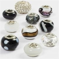 Cuentas de Cristal, dia: 13-15 mm, medida agujero 4,5-5 mm, negro/blanco harmonía, 10 stdas/ 1 paquete