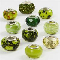 Cuentas de Cristal, dia: 13-15 mm, medida agujero 4,5-5 mm, verde purpurina, 10 stdas/ 1 paquete