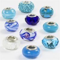 Cuentas de Cristal, dia: 13-15 mm, medida agujero 4,5-5 mm, azul harmonía, 10 stdas/ 1 paquete