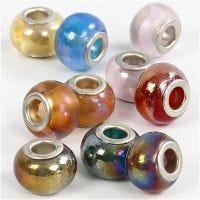 Cuentas de Cristal, dia: 13-15 mm, medida agujero 4,5-5 mm, 10 stdas/ 1 paquete