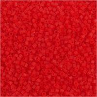 2 cortes, dia: 1,7 mm, medidas 15/0 , medida agujero 0,5 mm, rojo transparente, 25 gr/ 1 paquete