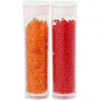 2 cortes, dia: 1,7 mm, medidas 15/0 , medida agujero 0,5 mm, naranja transparente, rojo transparente, 2x7 gr/ 1 paquete