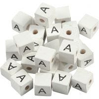 Cuenta cuadrada con letra, A, medidas 8x8 mm, medida agujero 3 mm, blanco, 25 ud/ 1 paquete