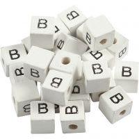 Cuenta cuadrada con letra, B, medidas 8x8 mm, medida agujero 3 mm, blanco, 25 ud/ 1 paquete