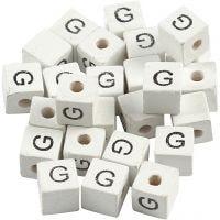 Cuenta cuadrada con letra, G, medidas 8x8 mm, medida agujero 3 mm, blanco, 25 ud/ 1 paquete