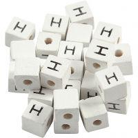 Cuenta cuadrada con letra, H, medidas 8x8 mm, medida agujero 3 mm, blanco, 25 ud/ 1 paquete