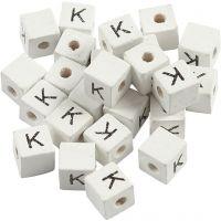 Cuenta cuadrada con letra, K, medidas 8x8 mm, medida agujero 3 mm, blanco, 25 ud/ 1 paquete