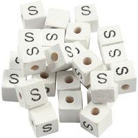 Cuenta cuadrada con letra, S, medidas 8x8 mm, medida agujero 3 mm, blanco, 25 ud/ 1 paquete