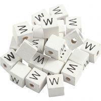Cuenta cuadrada con letra, W, medidas 8x8 mm, medida agujero 3 mm, blanco, 25 ud/ 1 paquete