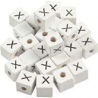 Cuenta cuadrada con letra, X, medidas 8x8 mm, medida agujero 3 mm, blanco, 25 ud/ 1 paquete